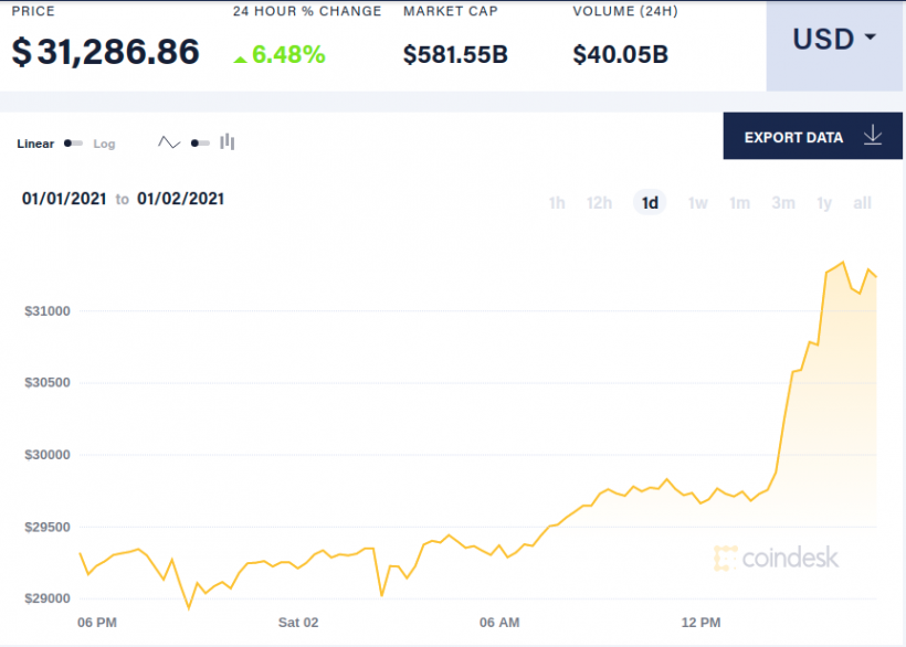 Bitcoin преодолел отметку в 31 тысячу долларов