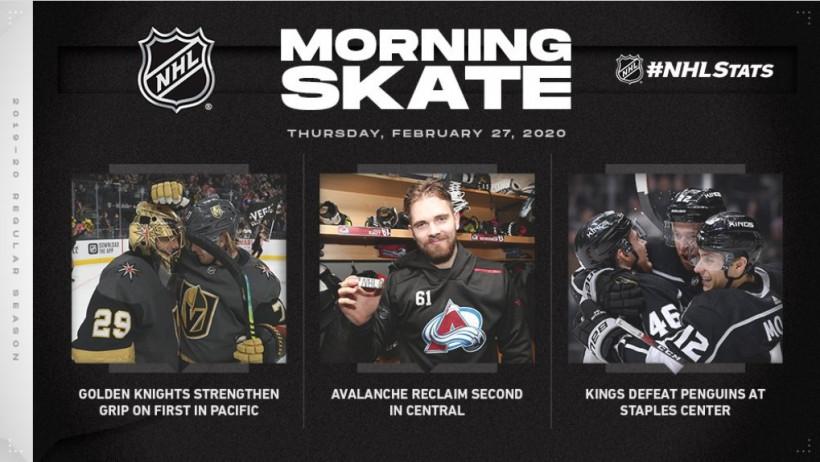 Обзор НХЛ 26 февраля: «Вегас» выиграл седьмой матч кряду, «Колорадо» обошел «Питтсбург» (ФОТО, ВИДЕО)