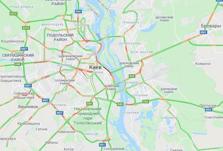 Утренний Киев сковали масштабные пробки (КАРТА)