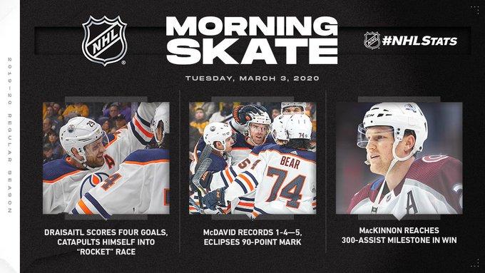 Обзор НХЛ 2 марта: «Колорадо» поднялся на третье место в лиге, Леон Драйзайтль впервые в карьере делает покер (ФОТО, ВИДЕО)