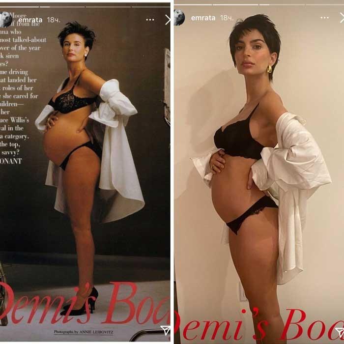 Беременная Эмили Ратаковски решила повторить фотосессию Деми Мур